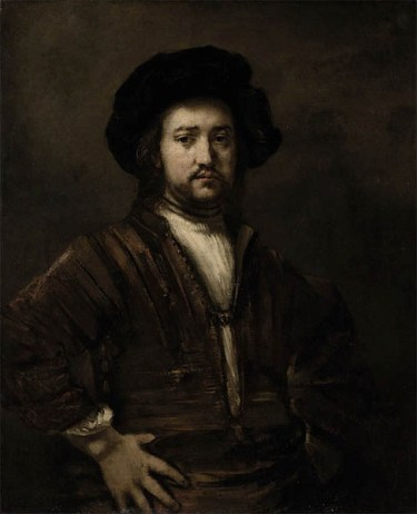 Portrait of a man with arms akimbo by Rembrandt.