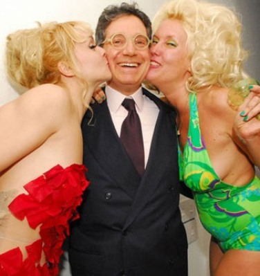 Jeffrey Deitch at a dinner party honoring NY burlesque