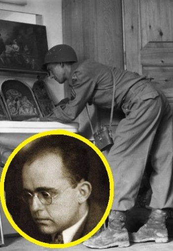 A U.S. Army soldier looks over art confiscated by Nazis. Inset: Hildebrand Gurlitt, who worked for the Reich.