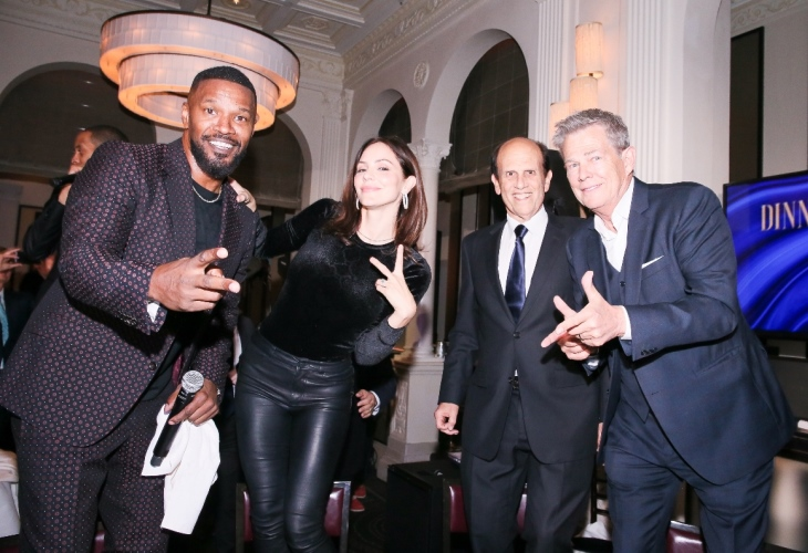 Jamie Foxx, Katharine McPhee, Michael Milken and David Foster at The Prostate Cancer Foundation's dinner. (Photo: BFA)