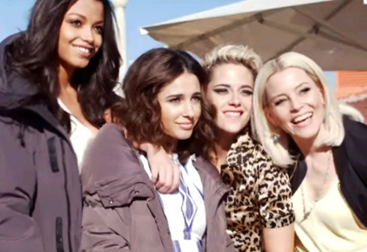 Charlie's Angels stars Kristen Stewart, Naomi Scott,,d Ella Balinska and Elizabeth Banks--sisters all. (Photo: ScreenCap/Sony)