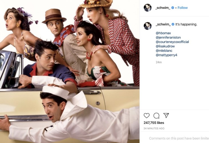 David Swimmer announced that Friends reboot was a 'go' on social media. (Photo: Instagram)