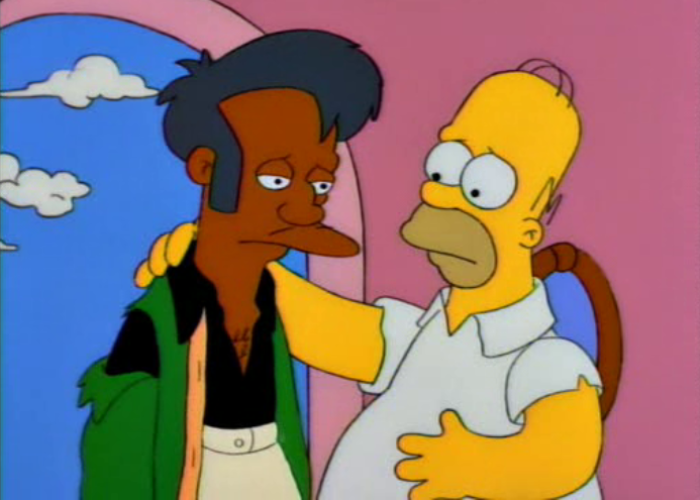 Apu and Home in a scene on the Simpsons
