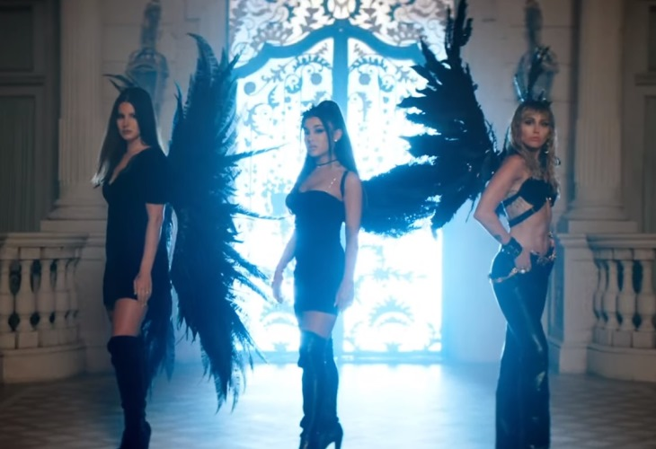 Lana Del Rey, Ariana Grande and Miley Cyrus send mixed messages in 'Don't Call Me Angel' video. (Photo: ScreenCap)