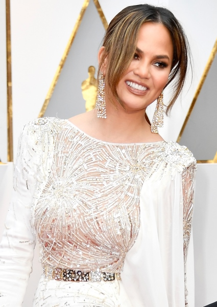 Chrissy Teigen Intricate Oscars Gown All Slit, See-Through Up Top (Photos!) 32