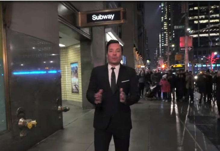 Jimmy Fallon takes his show underground to the New York City subway. (Photo: ScreenCap)
