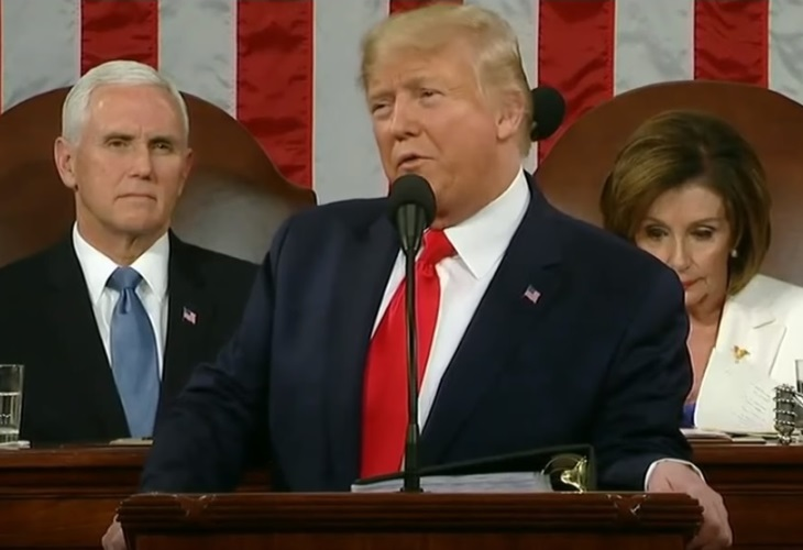 Donald Trump's speech and posturing raised eyebrows during his State of the Union address. (Photo: ScreenCap)