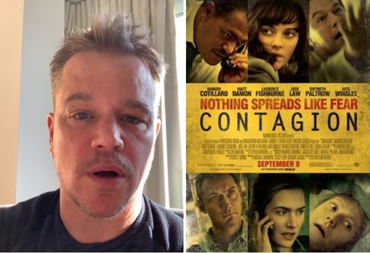 Matt Damon, who starred in the 2011 film 'Contagion,' leads cast in COVID-19 PSAs. (Photo: NYI collage)