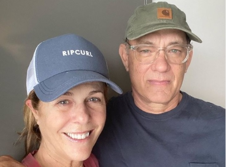 Tom Hanks and Rita Wilson posted this photo with a virus update on Instagram. (Photo: Instagram)