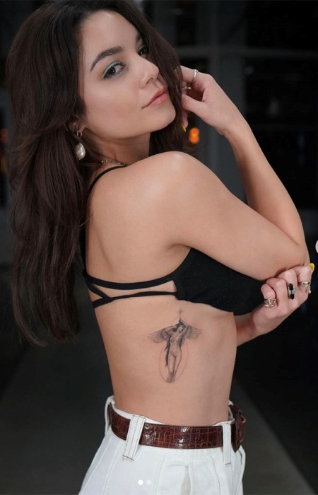 Vanessa Hudgens shows off her new tat, a devine angel (naked!). (Photo: Instagram)