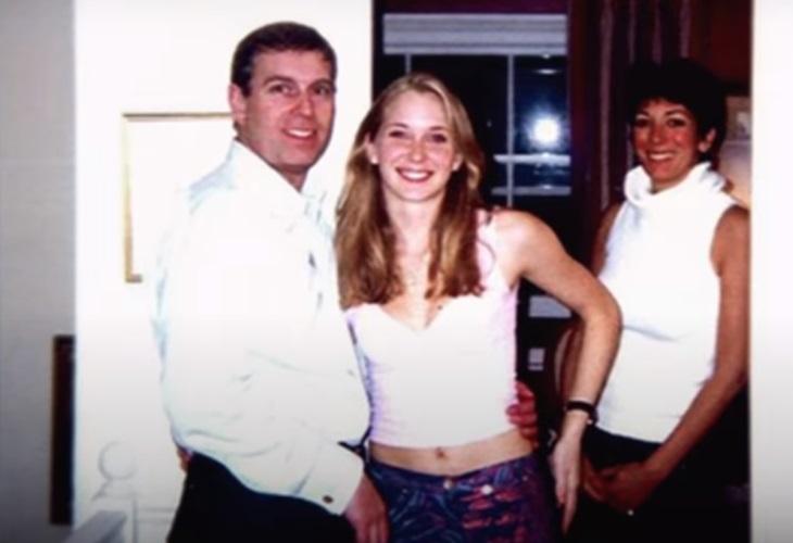 Prince Andrew with then underage Virginia and Epstein 'madam' (Photo: Netflix/ScreenCap)