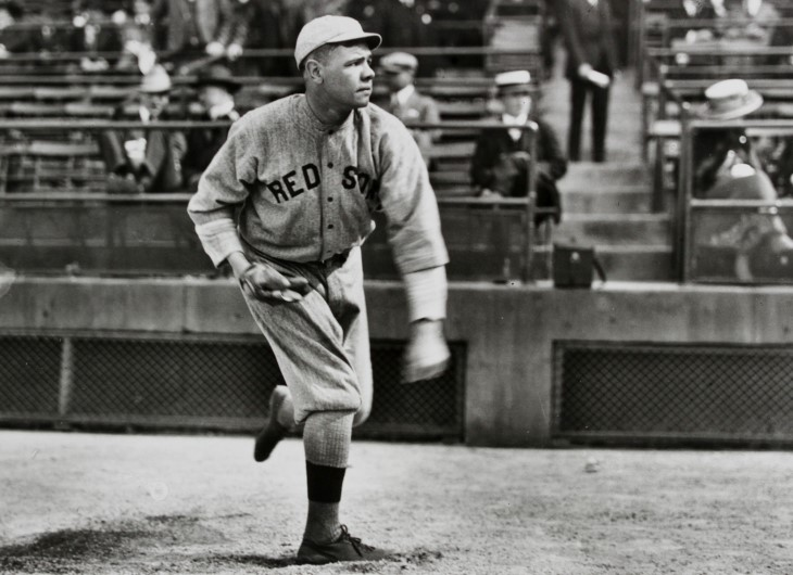 Babe Ruth was a pitcher for the Boston Red Sox, but switched to the field during the 1918 pandemic. (Photo: Frances P. Burke)