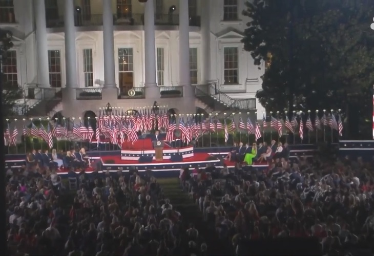 Donald Trump's speech on the White House grounds conveyed all the imagery of a Leni Riefenstahl, Nazi propaganda film. (Photo: ScreenCap)
