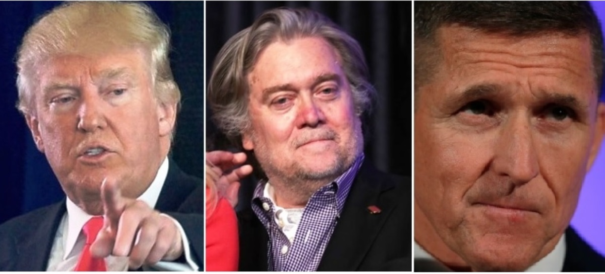 Steve Bannon (center) and Michael Flynn (right) are fanning Trump's alt-right base. (Photo: Getty)