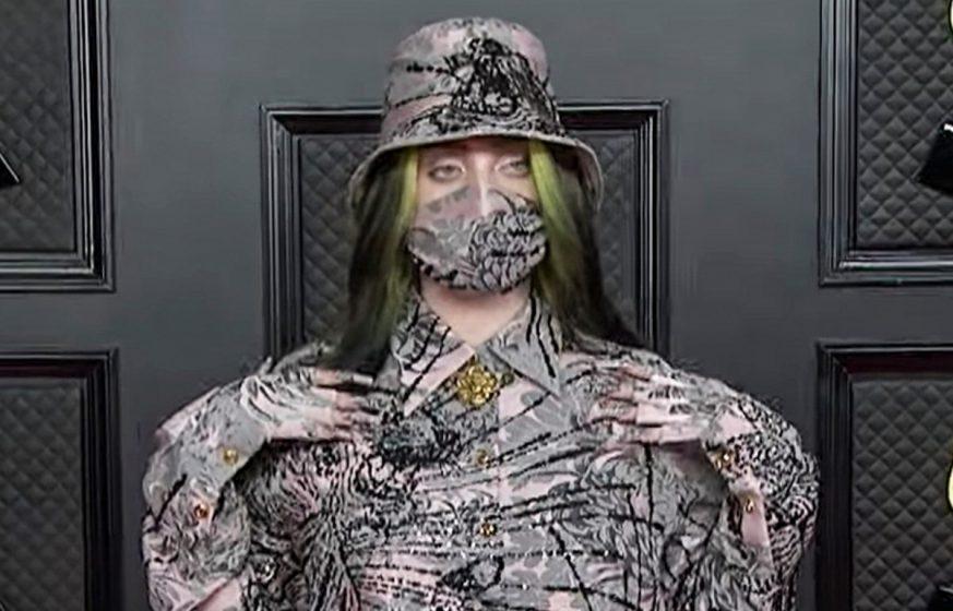Billie Eilish was stylish at the 2021 Grammy Awards, mask, hat and all. (Photo: Bang ShowBiz)