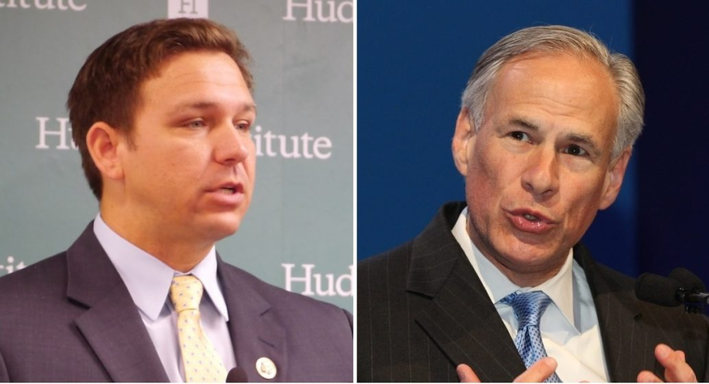 Texas and Florida Govs. Greg Abbott and Ron DeSantis have killed hundreds with their COVID policies. (Photo NYI Collage)