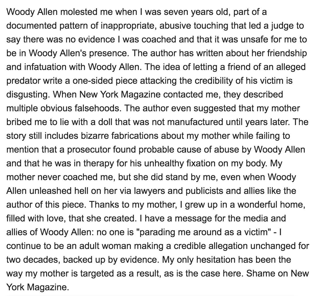Dylan Farrow Lashes Step-Sis/ Step-Mom Soon-Yi Previn for Woody Allen Defense 2