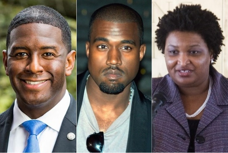 Andrew Gillum, Kanye West, Stacey Abrams