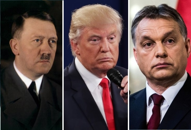 Donald Trump is using the same tactics of Fascists like Hitler (left) and Hungarian strongman Viktor Orban to undermine Democracy in America. (Photo: IM collage)