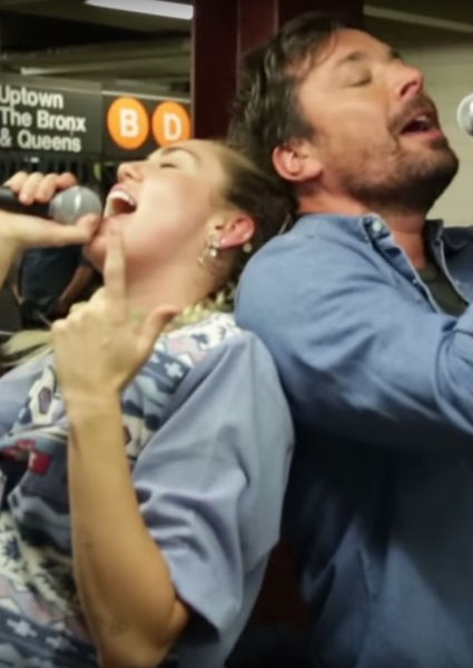 Miley Cyrus Jimmy Fallon Subway busking